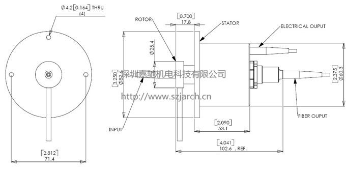 详细结构图: 品牌/型号:jsr-fe0607系列光电组合导电滑环 产品